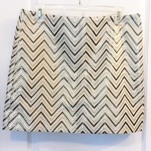 J. Crew gold chevron pattern mini skirt, NWT